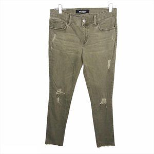 Express Mid-Rise Green Distressed Stretch Jeans
